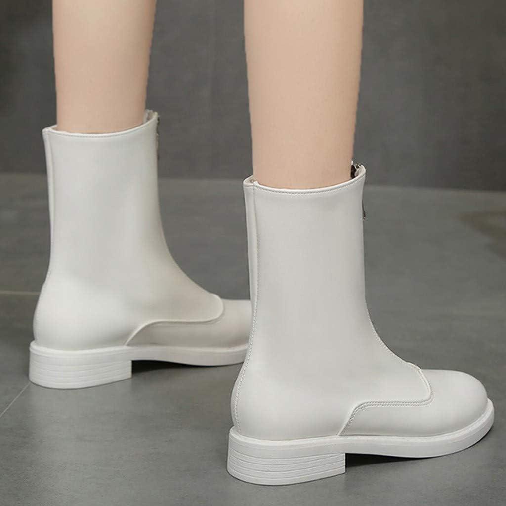 Dasuy Women Ankle Boots Wide Width Low Heel Chelsea Leather Booties Front Zipper Mid Calf Waterproof Rain Boot