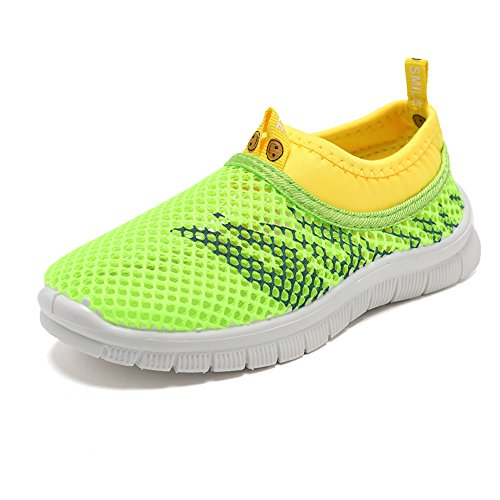 CIOR Kids Light Weight Sneakers AquaShoes Breathable Slip-on For Running Pool Beach Toddler / Little Kid,S644Green,26 0