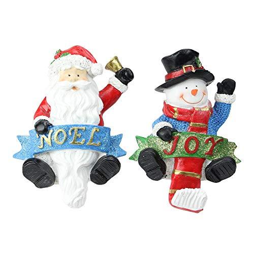 "Santa and Snowman Glittered Christmas Stocking Holders 6.25"" ()"