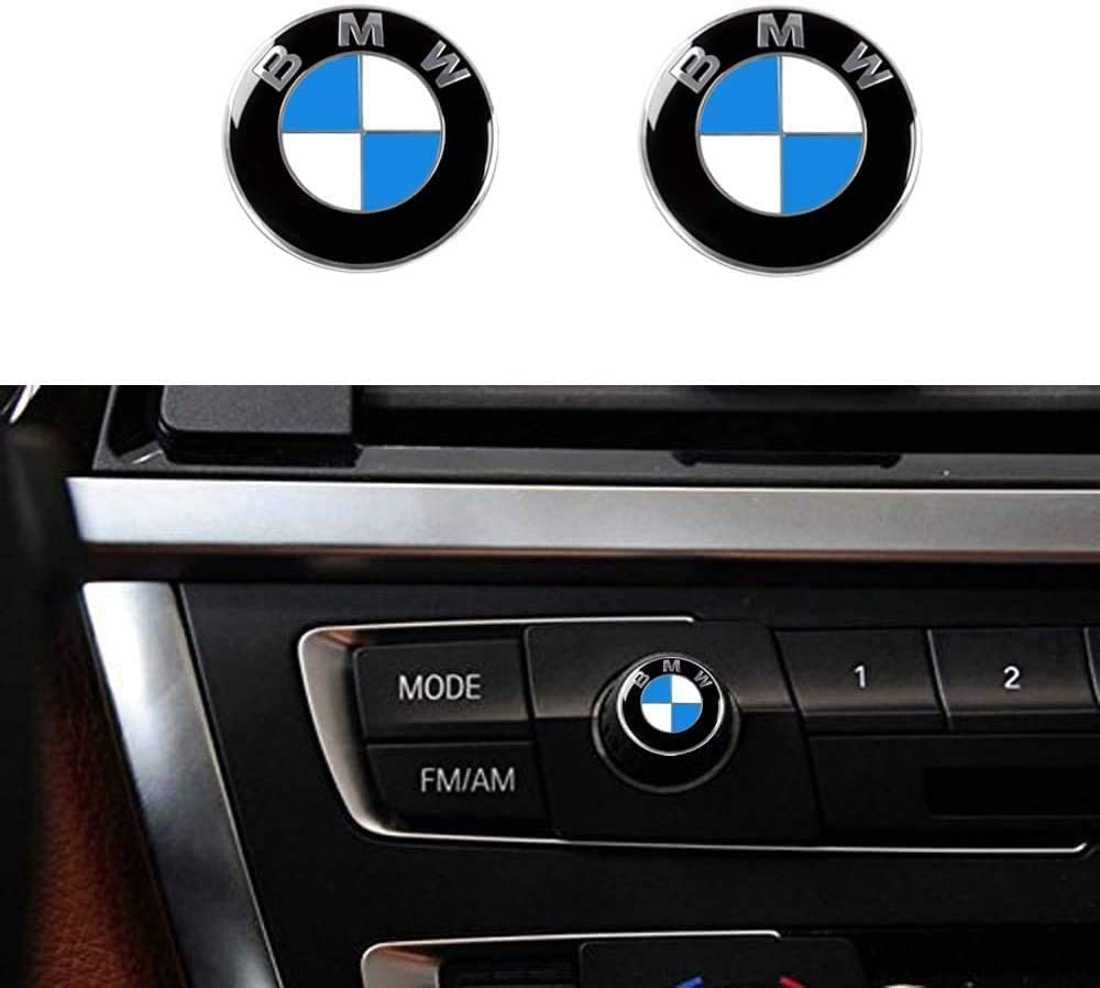 2 Pieces SUJWEL for 12mm BMW Radio Button Emblem Sticker Badge Decals Decoration Logo Fit for BMW