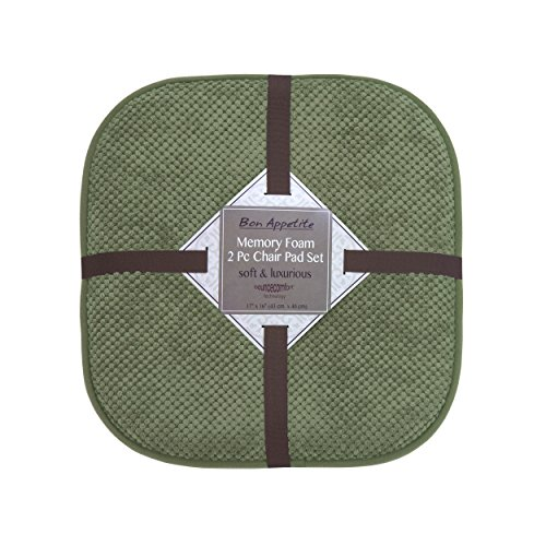 Bounce Comfort Bon Appetite Memory Foam 17 x 16 in. Cushioned Chair Pad, Set of 2 Fern Green Green Colored Pad