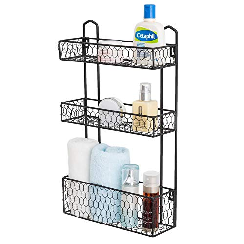 MyGift 3-Tier Rustic Chicken Wire Wall Hanging Bathroom Organizer Shelf Storage Rack (Country Baskets Wall)