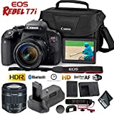 Canon EOS Rebel T7i DSLR Camera 18-55mm Lens + Battery Grip + Microphone