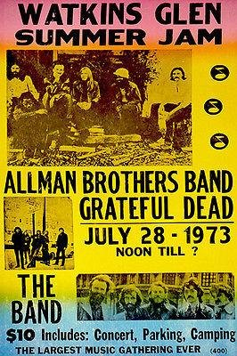 Allman Brothers Band - Grateful Dead - The Band - 1973 - Watkins Glen - Concert Poster
