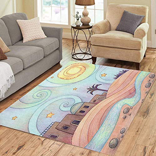 Pinbeam Area Rug Desert Night of Old City in The Made Home Decor Floor Rug 5' x 7' -