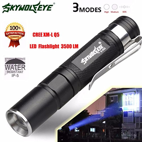 Wolf Eyes Flashlights - Sky Wolf Eye Flashlamp Oksale Waterproof 3500 Lumen 3 Modes CREE XM-L Q5 LED Zoomable Adjustable Mini Flashlight Light Lamp Torch for Hiking Night Fishing Camping