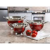 Oster Oster Metaline 3-pk. Colander Set Stainless Steel Red