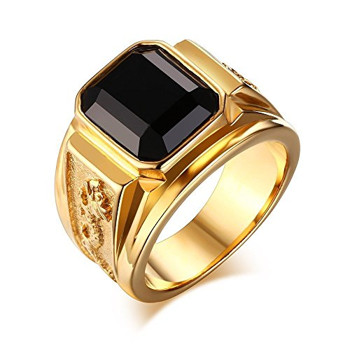 Stainless Steel Gold Plated Black Rhinestone Crystal Ring for Men Women Engagement Wedding Band