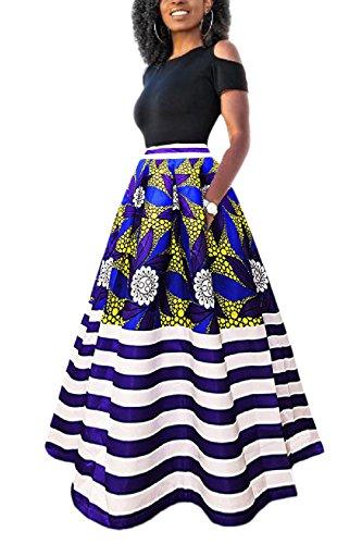 Yacun Las Mujeres Africanas Imprimir Una Linea Larga Coctel Vestido De Dos Piezas Azul