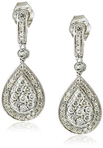 Sterling Silver Diamond Teardrop Dangle Earrings (5/8 cttw, J-K Color, I2-I3 Clarity) - Diamond Teardrop Dangle Earrings