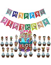 BATTER L-O-L Birthday Banner L-O-L Party Supplies Decorations, Pink Cake topper Decorations for Baby Theme Party Cute Baby Theme Party Decorations.