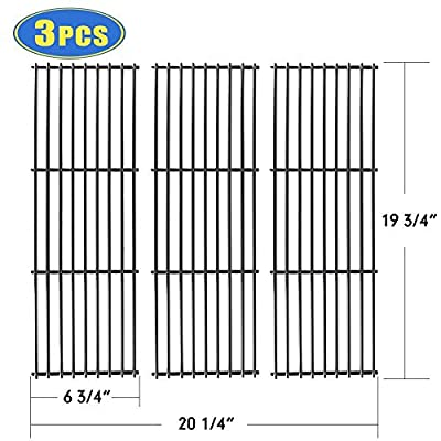 "X Home Grill Grate 19 inch Grill Replacement Parts for Chargriller 3001, 3008, 5050, 3030, 4000, 5252, King Griller 3008 5252, 3-Pack Porcelain Steel Cooking Grid Barbeque Grates (19 3/4"" x 6 3/4"")"