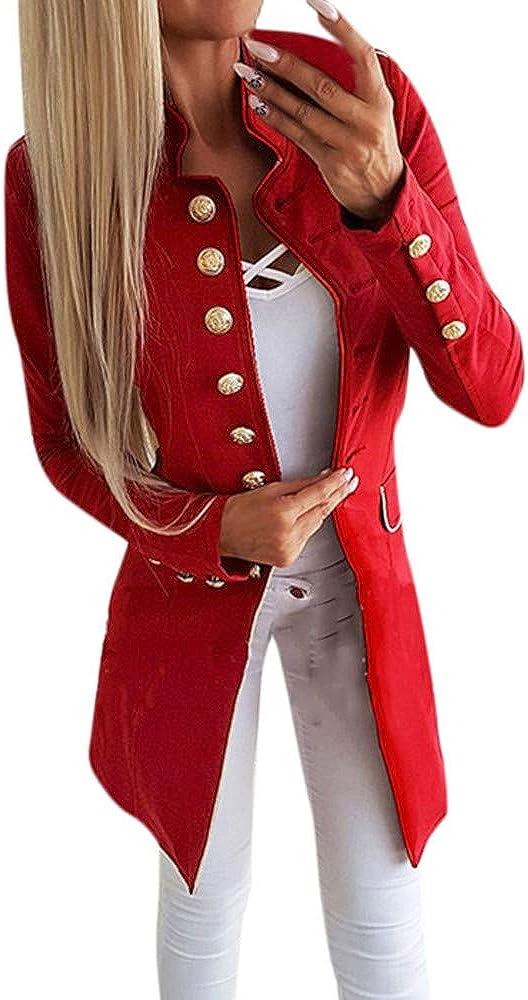 Geili Damen Blazer Elegante Langarm Slim Fit Einreihiger Anzugjacke mit Stehkragen Business B/üro Jersey J/äckchen Anzug Mode Langblazer Mantel Jacke Cardigan Oberteil f/ür Frauen