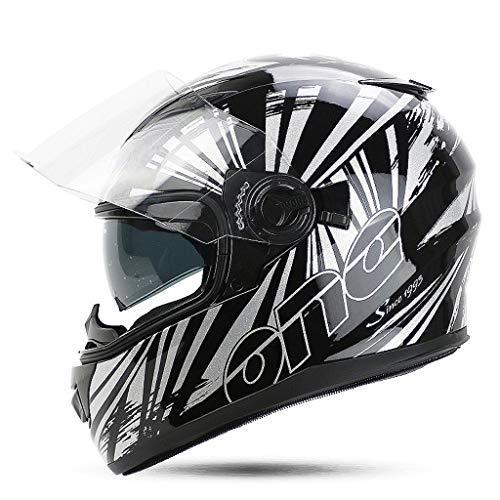 OUTO Casco Desmontable Multifunción Lente Doble Motocicleta Hombres y Mujeres Cubierta Completa Diseño de ventilación para...