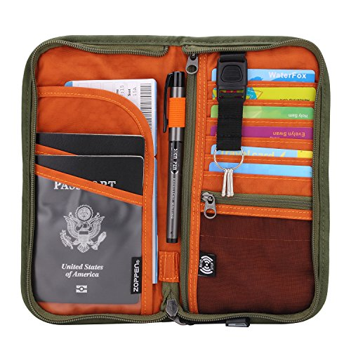 Zoppen RFID Travel Wallet & Documents Organizer Zipper Case, Family Passports Holder with Removable Wristlet Strap, Army Green