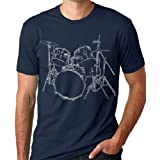 Think Out Loud Apparel Drums T-shirt Artistic design Drummer Tee Navy XL
