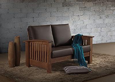 Baxton Studio Chalice Modern Classic Mission Style Walnut Wood Dark Brown Faux Leather 2 Seater Loveseat Sofa