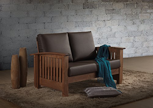 Baxton Studio Chalice Modern Classic Mission Style Walnut Wood Dark Brown Faux Leather 2 Seater Loveseat Sofa