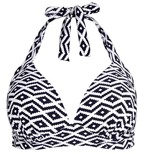 Balasami Women's Retro 50s Plaid Pattern Polka Dot Halter Molded Soft Pads Vintage Bikini Swimsuits Tops (L, White Aztec)
