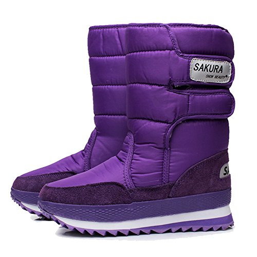 Legend E.C Ladies Waterproof Snow Boot Anti Slip Cold Weather Boot Mid Calf Outdoor Boot Purple 6.5 (Purple Snow Boots)
