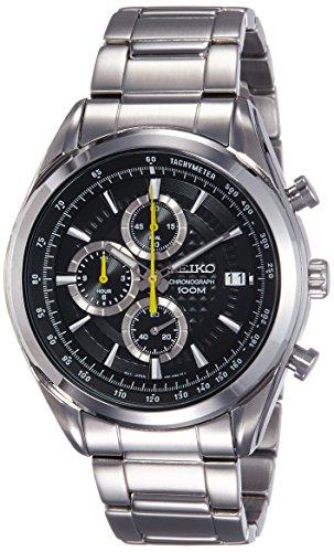 SEIKO SSB175P1,Men's Chronograph,Stainless Steel Case & Bracelet,Black Dial,100m WR,SSB175