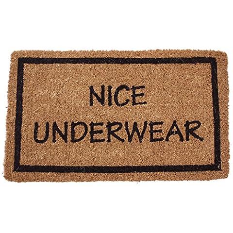Entryways Non Slip Coir Doormat, 17-Inch by 28-Inch, Nice Underwear (Humor Doormat)