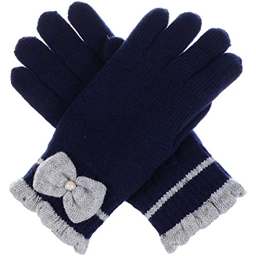 LL Womens Warm Winter Knit Fashion Gloves, Fleece Lined - Many Styles (Pearl Navy Blue) ()