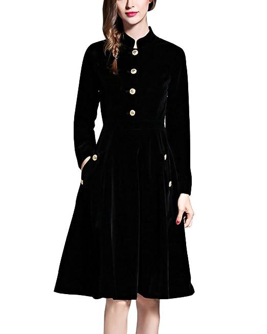 ZhuiKun Vestidos Terciopelo Mujer Vestidos de Noche Vestidos de Cóctel Vestido Largo Negro S