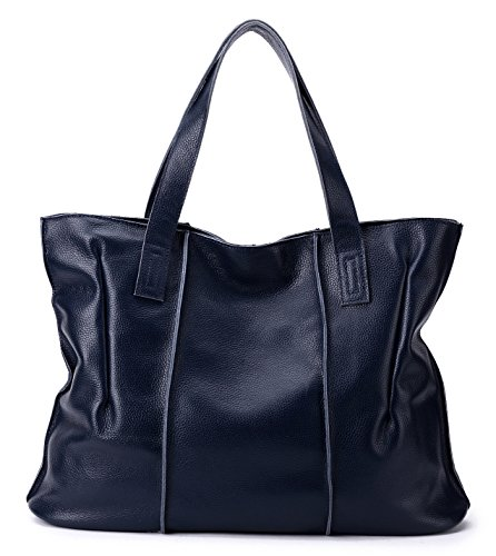 - CHERRY CHICK Women's Soft Cow Leather Tote Bag (Navy-9316)