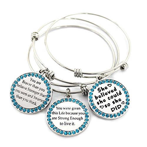 MIKINI Set of 3 Womens Silver Plated Alloy Metal Bracelets Engraved Message Motivational Inspirational Words Round Charm Pendant Adjustable Bracelets (# Set of 4 (crystal))