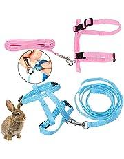 2 Stuks Harnas Voor Konijnen Halsband Voor Konijnen Konijnen Harnas En Leash Riem Voor Kleine Dieren Verstelbaar Kattentuig Riem Voor Kleine Dieren Voor Konijnen En Huisdieren 120 Cm Roze En Blauw