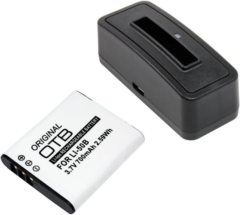 para Olympus mju-9010 Pentax D-Li92 700mAh Ricoh DB-100 Bater/ía substituye: Olympus LI-50B Estaci/ón de bater/ía y bater/ía