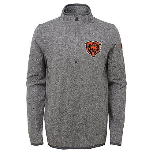 Outerstuff NFL Chicago Bears Youth Boys Motion 1/4 Zip Performance Top, Grey, Youth X-Large(18)