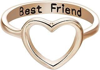 Zhuotop donne migliori amici anello semplice Hollow cuore grande anello amicizia Lettering anelli