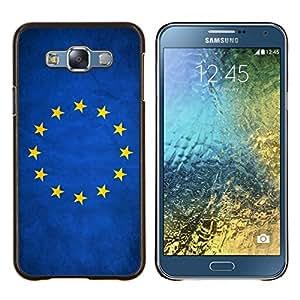 KLONGSHOP // Cubierta de piel con cierre a presión Shell trasero duro de goma Protección Caso - Nación de la bandera nacional del país de la Unión Europea - Samsung Galaxy E7 E700 //