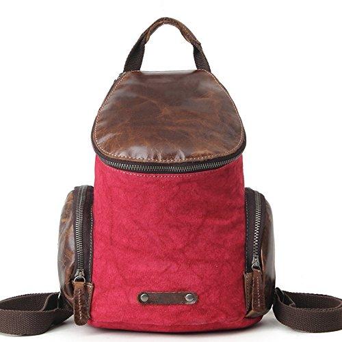mefly la mochila Multifuncional Hombres bolsa de lona piel cubierta de hombro protectora tipo Retro Bolsa, Claret Claret