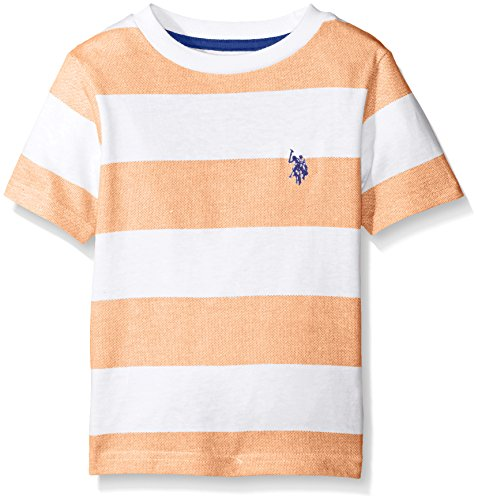 U.S. Polo Assn. Boys' Big Birdseye Printed Stripe Crew Neck T-Shirt, Stadium Orange, 18 (Orange Shirt Stripe)