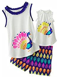 Little Girl's Peacock Pajama Set with Doll Dress