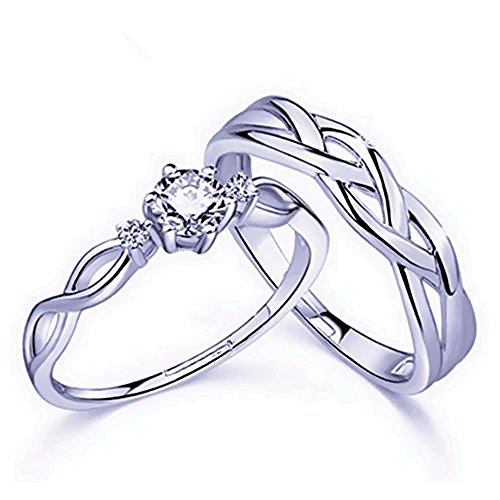 CHuir Fashion Couple Rings for Him and Her, Adjustable Celtic Knot Heart Promise Ring Set (Knotring)
