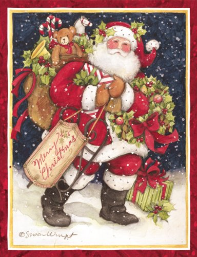 Lang Perfect Timing Snowy Night Santa Boxed Christmas Cards, 18 Cards with 19 Envelopes (1004683)