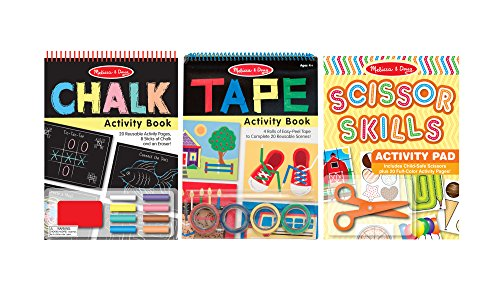 Melissa & Doug Scissors, Tape, and Chalk Activity Kits, Set of 3