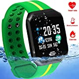 Waterproof Sport Fitness Tracker - IP67 Smart Watch for Men Women with Heart Rate Blood Pressure Sleep Monitor Calorie Pedometer Smart Bracelet Outdoor Swim Run Tracker Android iOS (Green)