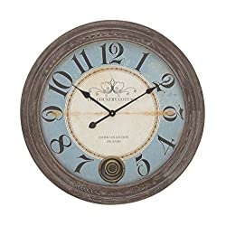 Deco 79 52143 Wooden Wall Clock, 27, Black/White/Blue/Brown