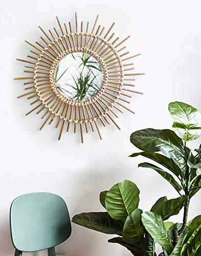 Vintage Rattan (RISEON Boho Mid-Century Vintage Moroccan Style Halo Wicker Mirror, Bamboo Rattan Sunburst Mirror, Hanging Wall Mirror, Round Room Entryway Mirror (505020cm))