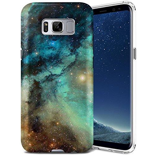 Galaxy S8 Case, ZUSLAB Nebula Design, Slim Shockproof Flexible TPU, Soft Rubber Silicone Skin Cover for Samsung Galaxy S8 (Dark Green Nebula Galaxy)