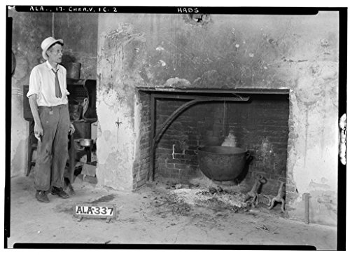 8 x 12 Photo 29. Historic American Buildings Survey Alex Bush, Photographer, January 25, 1935 Fireplace in Kitchen, WEST Side Slave House - Cunningham Plantation, Old Memphis Road (Ga 1897 84a by Vintography