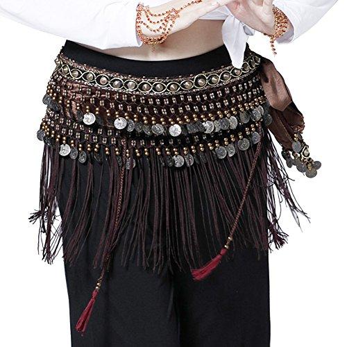Fringe Hip Scarf - Pilot-trade Women's Big Noise Belly Dance Tribe National Style Belt Tassel Hip Scarfs Velvet Waist Brown