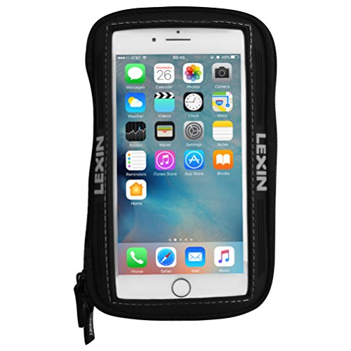 LEXIN MTB03 Big Size Black Super Cool Motorcycle Sportbike Magnetic Tank Bag, Pouch Phone Holder Case Fits iPhone X, XR, 8, 8 Plus, 7, 7 Plus, 6s, 6s Plus, Galaxy S9, S8, S7