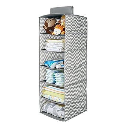 MDesign Chevron Fabric Baby Nursery Closet Organizer, For Toys, Baby/Kids  Clothing,