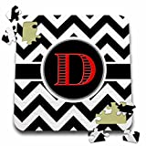 BrooklynMeme Designs - Black and white chevron monogram red initial D - 10x10 Inch Puzzle (pzl_252163_2)